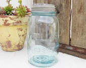 Vintage Aqua Mason Jar, Blue Mason Jar, Atlas Strong Shoulder Mason Jar with Zinc Lid, Quart Size, Canning Jar, Rustic Farmhouse Decor