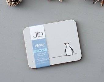 Penguin Coasters, Set of Two, Gift for Penguin Lovers
