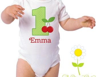 Personalized Birthday Shirt for Girls - Cherries Birthday Outfit - Birthday Personalized Bodysuit or T-Shirt - Custom Baby Girl One Piece
