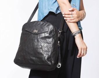 NEW! Black Leather Backpack, Soft Black Leather Shoulder Bag, Black Leather Crossbody, Designer Bag, 3-Way Small Backpack