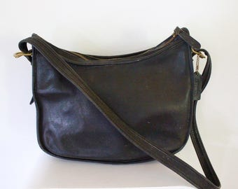 Coach bag classic black genuine vintage designer handbag black leather shoulder