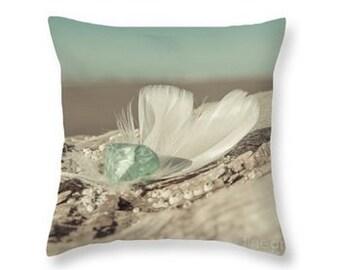 Feathers & Sea Glass Throw Pillow, Nautical Pillow, Photography Pillow Print, Nature, Spa Decor, Teal, Aqua, Turquoise Blue, Tan -NO. 7904