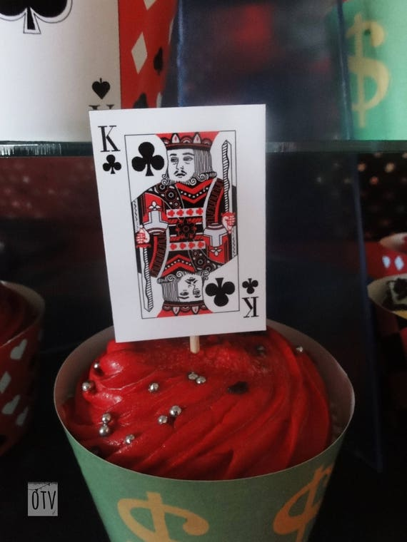 Las Vegas - Casino - Poker Night - Mini Playings Card - Cupcake Toppers, Ace, Jack, Queen King - PRINTABLE PDF - Instant Download - Digital