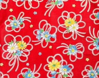 Atsuko Matsuyama Ribbon Daisies in Red by Yuwa - 1/4 Yard