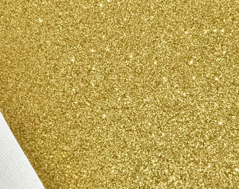 Fine Gold Glitter Leather Fabric Sheet Thin 0.6mm A4 or A5 Sheet Fine Gold Glitter Fabric A4 Sheets