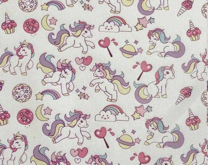 Unicorn Print Leather Fabric Sheet Unicorn Faux Leather Pastel Unicorn Leatherette Great for Bows
