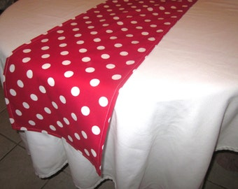 Red and White Polka Dot Table Runner, Minnie Mouse party,  Wedding, Bridal Shower, Baby Shower, Dr. Suess Party