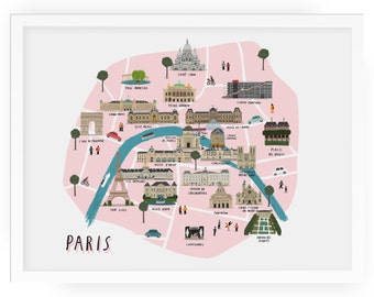 Paris map illustrated art print - map print map illustration city paris print paris art paris map print city print paris wall art