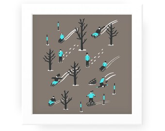 Sledgers illustrated winter print - snow sledges art