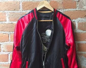 Two-sided Bomber Jacket red and black embroidered sukajan jacket birds flowers Japanese satin reversible Korean Jacket track chinese unisex