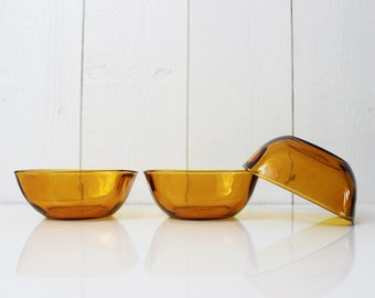 Vintage Amber Candy Dish, Amber Glass Bowls, Vintage Glass Bowl, Amber Glassware, Vintage Bowls, Amber Glass Trinket Bowls Set of 3 - D629