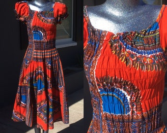 Small Tribal Print Red Dress Ruched top off shoulder cotton knee length short blue white ethnic bohemian boho