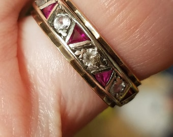 Vintage Ruby And Spinel 9ct Eternity Band Ring