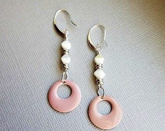 vintage white ab czech glass with pale pink  enamel go go circles- pale pink and white earrings-enamel earrings-czech glass earrings-dangles