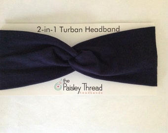 Navy Stretchy Cotton Turban Headband