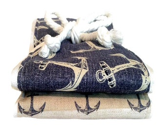 Anchors - Nautical Theme Burp Cloth Set - Baby Shower Gift