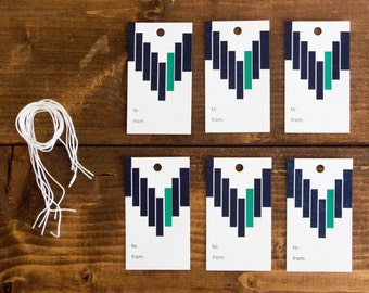 Blue and Green Stripes Letterpress Gift Tag - Set of 6