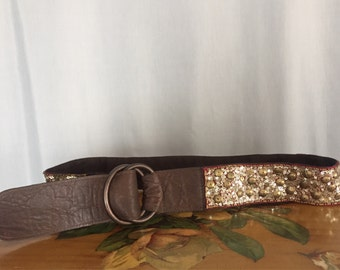 Gold Sequin Belt Loop BuckleVintage Women's Small