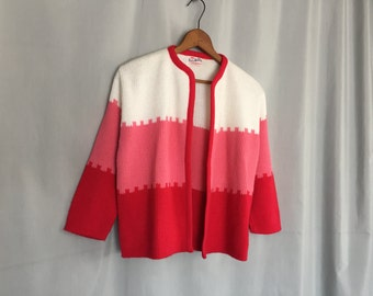 Red Pink White Cardigan Sweater Vintage Women's XS or Small