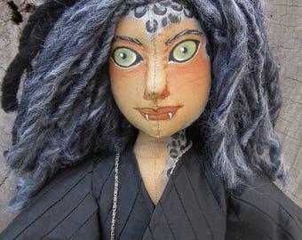 OOAK cloth art doll, Snow Leopard Warrior