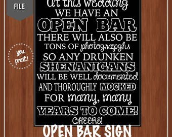 Open Bar Sign - Wedding Open Bar Sign - Drunken Shenanigans - Instant Download - Open Bar - Digital - Funny Open Bar Sign - Wedding Decor