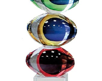 "Glass sculpture ""Balls"", for modern decoration, height 9,8 inches (25 cm)"