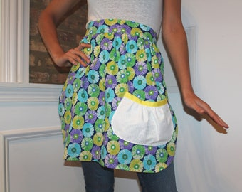 Blue, green, purple, floral print half apron