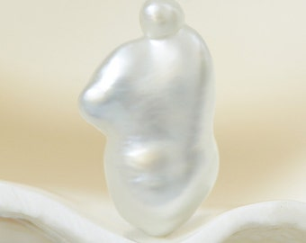 SOUTH SEA Keshi PEARL 12.98 mm Silvery White Indonesia 0.61 g un-drilled