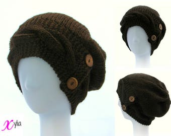 Brown Knitted Hat Button Band Hat Cable Band Slouchy Hat Adult Size Hand Knitted Hat Chunky Knit Hat Alpaca Wool Acrylic