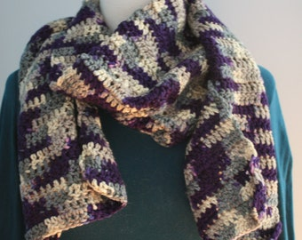 Purple and beige scarf knitted by hand