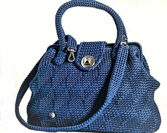 Handbag//blue///Doctor bag crochet bag/lanyard//Made in Italy//crochet bag