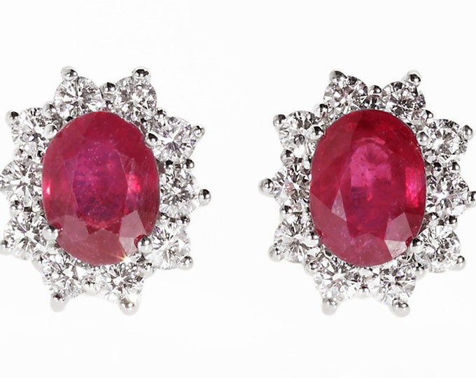 Ruby Earrings-Diana Style Earrings-Diamond Earrings with red ruby-Ruby stud-Natural ruby earrings -Anniversary present-Women Jewelry-for her