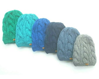 Satin Lined Cable Knit Beanies - Regular - Unisex - Fully Lined