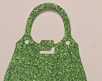 12 die cut handbags - green glitter