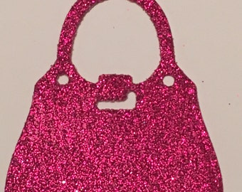 12 die cut handbags - pink glitter