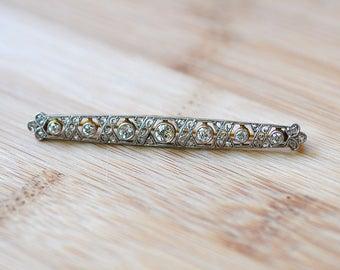 Platinum Edwardian Diamond Pin - Antique Diamond Brooch - Art Nouveau Brooch - 18K White Gold Diamond Art Nouveau Pin - Antique Brooch