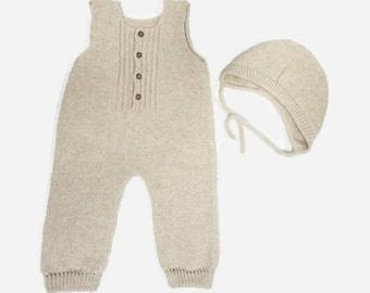 Hand Knit Cashmere Baby Romper/Overall/Coverall and Bonnet - Gender Neutral