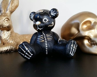 Hand painted ceramic teddy bear with dia de los muertos style