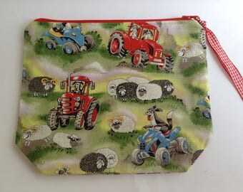 Project bag, wip bag, craft bag, knitting crochet bag, tractor sheep