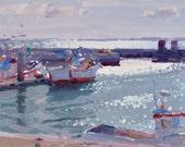 Shining Waters - Setubal Port - original oil portuguese landscape seascape painting - FREE SHIPPING WORLDWIDE