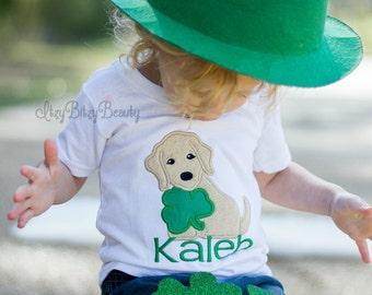 Boys St. Patricks Day Shirt Green Gold Dog Personalized Custom Name