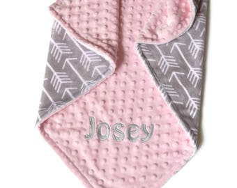 Personalized Baby Blanket, Minky Baby Blanket, Baby Blanket with Name, Arrow Baby Blanket, Gray Arrow Blanket, Personalized Minky Blanket