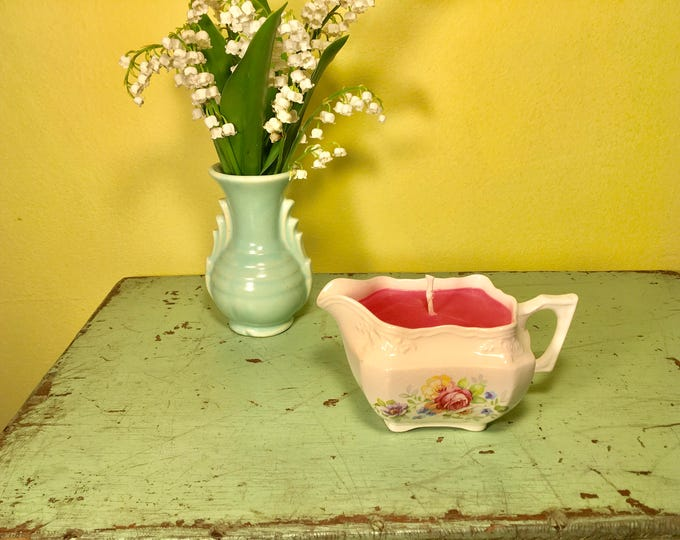 Vintage Rose print Creamer with a  pink Soy Grapefruit Candle scent