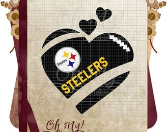 Steelers Inspired Heart Layered Cutting Files SVG Dxf Eps Png