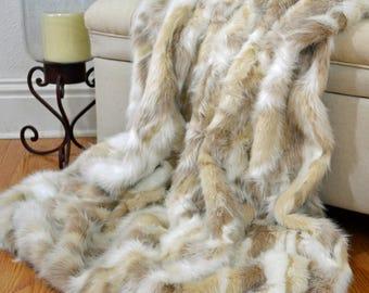 Faux Fur Blanket Throw, Fox Fur Blanket, Forest Fox Fur Throw, Fur Bedding, Lap Blanket, 5' x 6'