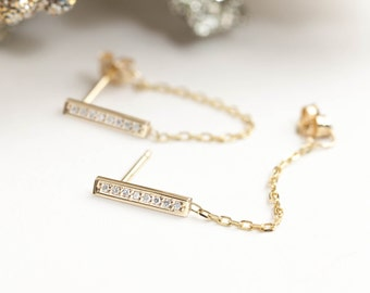 White diamond / Black diamond bar chain earrings / 14k yellow gold/ rose gold/ white gold/ dainty earrings / minimalist jewelry / bar-e106-8