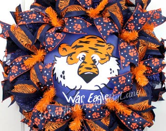 "Auburn Sports Wreath, Auburn ""Aubie"" Wreath, Auburn Wreath, Auburn Football Wreath"