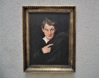 Antique Portrait Painting Gentleman Man Shakespearean Actor 19c Oil on Canvas Norwegian Signed H. F. Jessen w/ Wood Frame