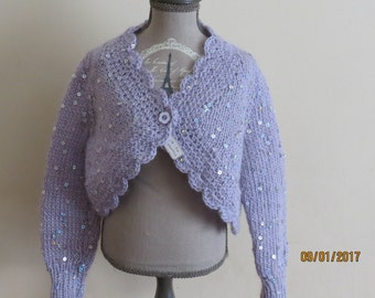 SEQUINNED pale lilac bolero size 18-24 months