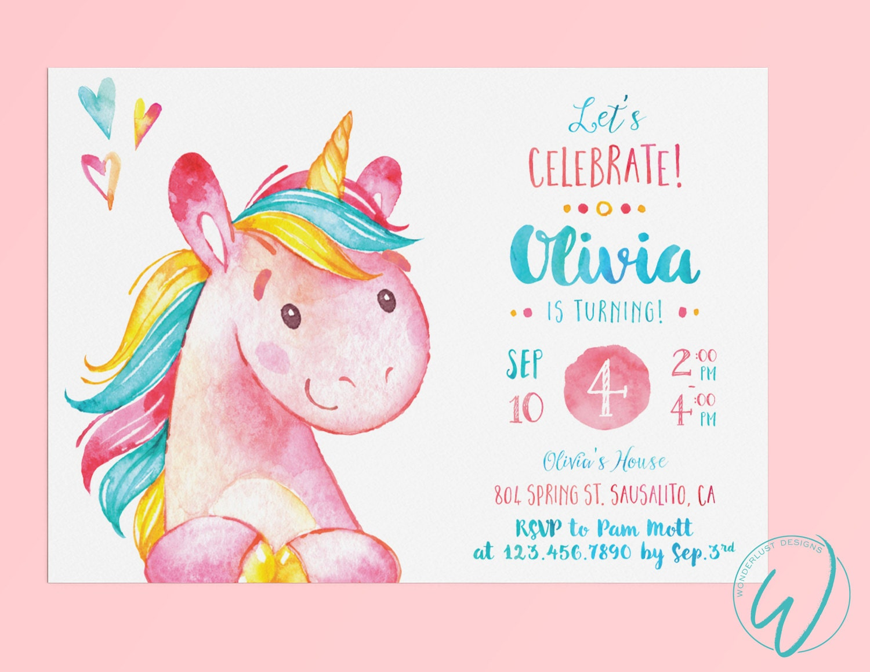 Unicorn Birthday Party Invitation Little Girl Birthday